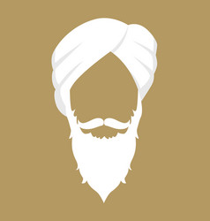 Old indian man wearing turban vector