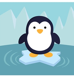 Penguin in Ice Theme Background vector image