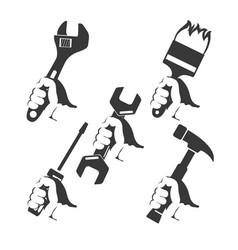 Repair tools in hand vector
