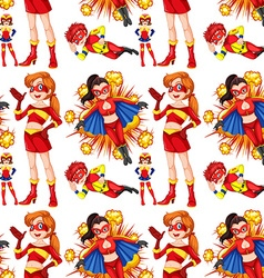 Seamless female superhero in red vector
