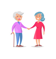 Senior couple walk together grandma and grandpa vector
