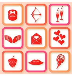 Set of 9 retro pink icons of Valentines day vector image