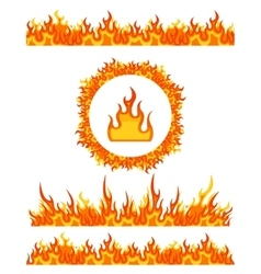 Simple fire border patterns and round frame flame vector