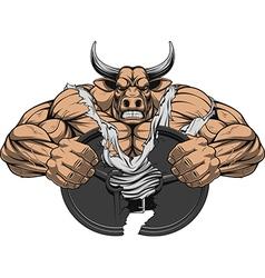 Strong ferocious bull vector