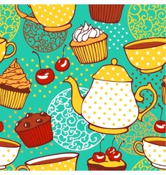 Tea and muffins sweet seamless pattern vector image vector image