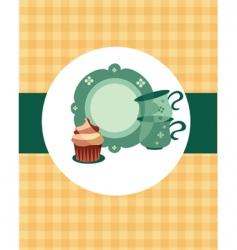 tea pot set with cupcake vector image vector image