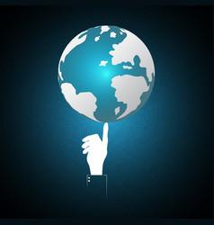 technology businessman hand point world globe vector image