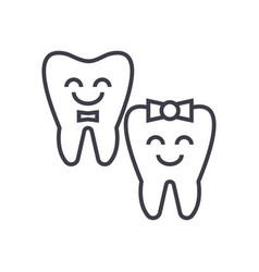 teeth carehappy tooth line icon sign vector image vector image