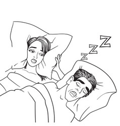 woman covering ears while man snoring in bed at vector image vector image