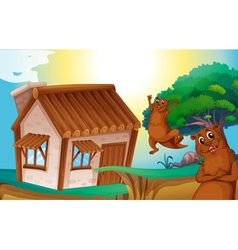 wooden house and otters vector image