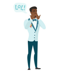 Young african-american groom laughing out loud vector