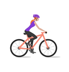 Cyclist girl on bike biker and bicycling sport and vector