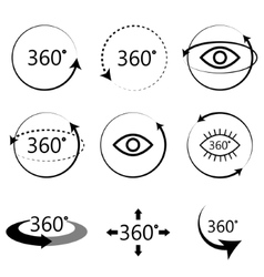 Full 360 degrees angle view icons vector