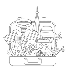 Suitcase with clothes icons set outline style vector