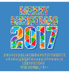 Patched merry christmas 2017 greeting card vector