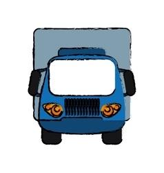 Blue truck small cargo transportation sketch vector