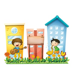 Two musicians near an empty wooden signboard vector
