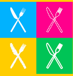 fork and knife sign four styles of icon on four vector image