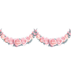 seamless garlands of pink roses isolated on a vector image