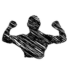 Silhouette drawing half body muscle man fitness vector