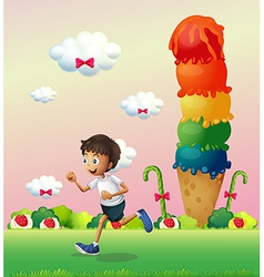 A boy in a land full of sweets vector