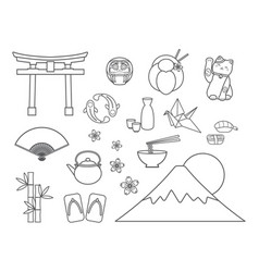 set of japanese symbols vector image