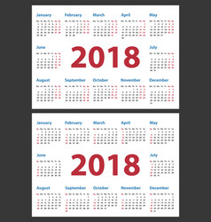 calendar for 2018 starts monday and sunday vector image