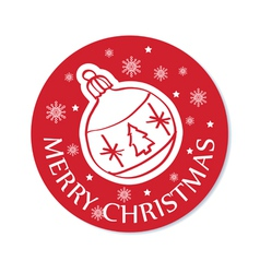 round christmas greeting card with ball vector image