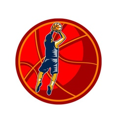 Basketball player jump shot ball woodcut retro vector