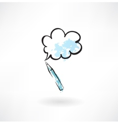 pen and speech bubble grunge icon vector image