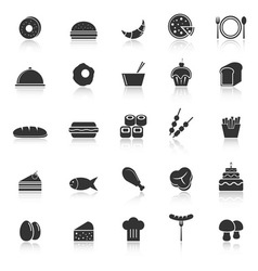 Food icons with reflect on white background vector image