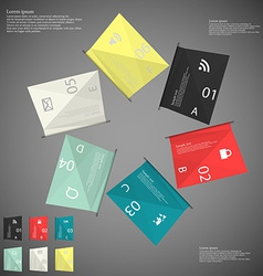 Six color paper sheets on dark vector