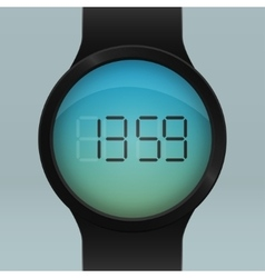 Realistic black smart watch vector