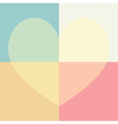Pastel cute heart and rectangle seamless pattern vector