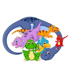 Collection mom and baby dinosaur vector