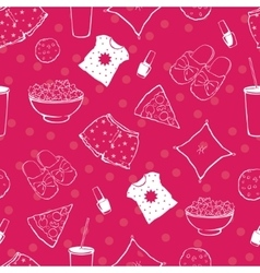 Hot pink pajama party food objects seamless vector