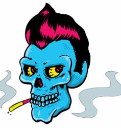 Rock and roll style skull vector
