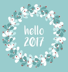 Pastel laurel wreath hello new year 2017 vector