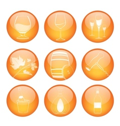 Set of winery sphere icons vector
