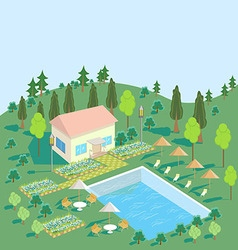 House in nature with pool trees seating area vector