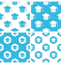 Academic cap patterns set vector