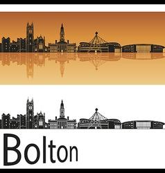 Bolton skyline in orange background vector image vector image