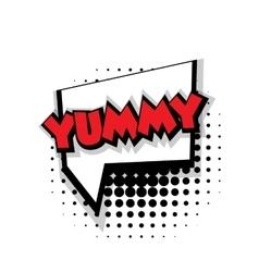 Comic text yummy sound effects pop art vector