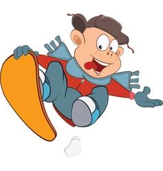 Cute Boy Snowboarding Cartoon vector image
