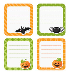 cute cards or stickers with halloween symbols vector image vector image