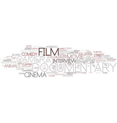 documentary word cloud concept vector image vector image