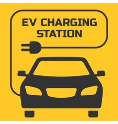 Ev charging station signboard on a yellow backgrou vector