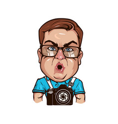fat funny photographer character vector image vector image