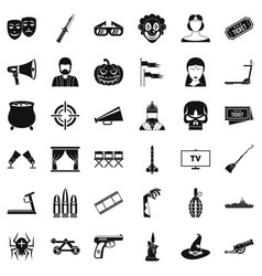 Filmstrip icons set simle style vector