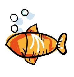 Fish animal drawing icon vector